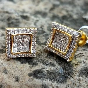 14k Gold plated Lab Diamond Dual Box Earrings